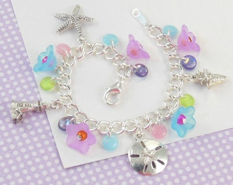 Girls Beach Charm Bracelet   --  Lilly  --