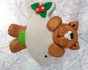 Cat Christmas Ornament -  Kitty Christmas Ornament -  Cat Lover Gift -  Cat Owner Gift - Golden Cat Ornament - Pet Ornament - 4066
