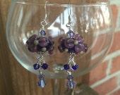 Purple flower lampwork earrings
