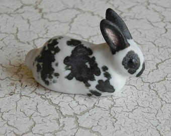 sweet black and white bunny rabbit sculpture