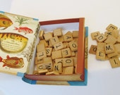 Scrabble Tiles Complete Set in Book Shape Box Vintage Game Pieces Letters Alphabet Spell Words Embellishments Craft Jewelry Supplies