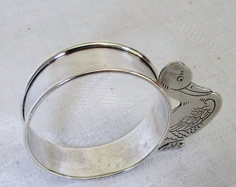 Sterling Silver Napkin Ring Child Children Duck George Webster Antique Figural Baby Shower Gift First Birthday Collectible Small Holder