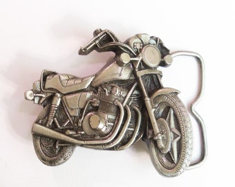 Vintage Motorcycle Belt Buckle by Bergamot Brass Works H-39 pewter colored