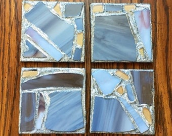 Silver Gray Recycled Stained Glass Mosaic Coasters (Set of 4)