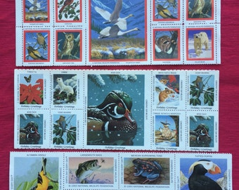 Vintage National Wildlife Federation Stamps Birds, Bears, Owls, Fish, Christmas Seals and More