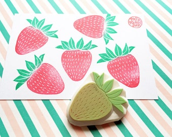 strawberry stamp. fruits hand carved rubber stamp. spring garden stamp. birthday scrapbooking. cake gift wrapping. spring holiday crafts