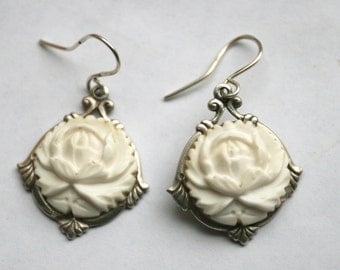 Vintage Button Earrings - Unusual Carved Ivory Celluloid Floral Design Hand Crafted Sterling Wires
