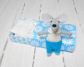 Boy nursery new parent stuffed animals felt stuffed mice in matchbox miniature light blue newborn Baby shower  kids birthday gift
