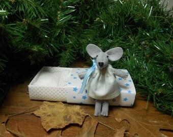 Small felt animals kids gift Tiny felt mouse stuffed animal doll in matchbox white light blue