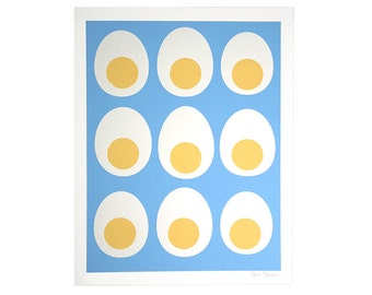 Art Print, Kitchen Art, Silk Screen Print, Egg Print, Egg Design