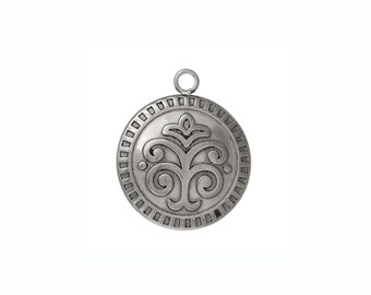 Round carved pendant stainless steel hypoallergenic DIY tribal necklace pendant