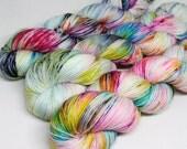 Hand Dyed Speckled Sock Yarn - SW Sock 80/20 - Superwash Merino Nylon - 400 yards - Pinwheel