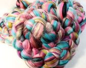 Merino Silk Custom Blended Wool Top Roving For Spinning & Felting  - Sweetie Pie