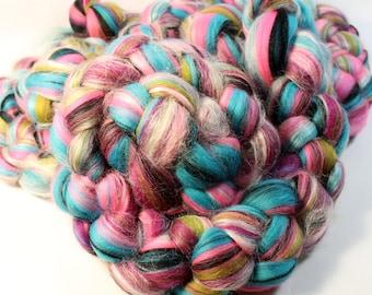Merino Silk Custom Blended Wool Top Roving For Spinning & Felting  - Sweetie Pie
