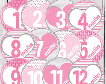MONTHLY IRON-ONS Decals or Monthly stickers - 12 Monthly decals - for Baby girl - Pink Hearts (Style#A18)