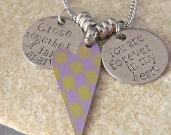 Close Together or Far apart you are Forever in my Heart Purple checkered Heart Necklace