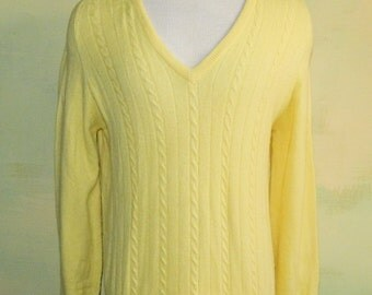 M Vintage 60s 70s Yellow 100% Cashmere Sweater Dumfries of Scotland J & D McGeorge La Costa Cable Kint V Neck Sweater