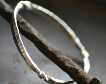 silver bangle bracelet, wrought sterling, hammered and twisted, thick forged bangle