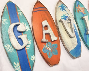 Rustic Surf Shop Hand Painted Nursery Wall Letters
