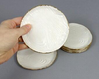 "Gold Rimmed Faux Bois Mini Plate 4.75"" Round Handmade White Stoneware Ceramic Dish"