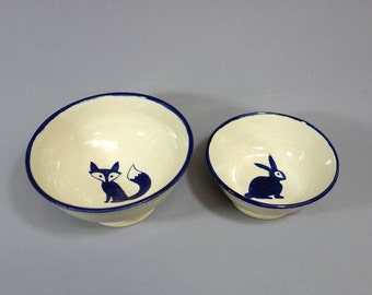 Fox and Hare Bowl Set - Two stoneware nesting bowls with original hand-painted illustrations