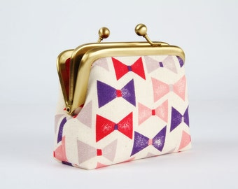 Metal frame purse with two sections - Ribbons in pink and purple - Siamese dad / Berry red grey navy / Japanese fabric