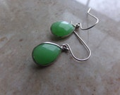 Green Chrysophase Earrings. Gemstone & Sterling Teardrops