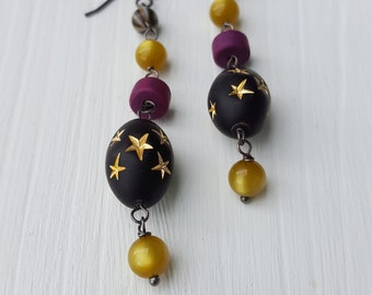 cirque des étoiles earrings - vintage lucite and sterling