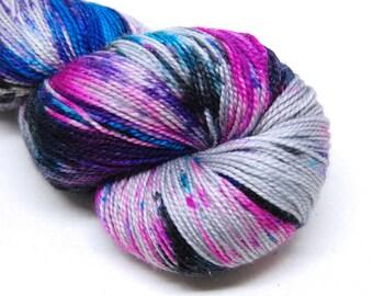 """Glam Rock Sparkle Sock Yarn - """"Mix Tape"""" -  Handpainted Superwash Merino - 438 Yards"""