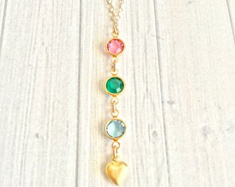 Birthstone Necklace - Birthstone Jewelry - Mother's Necklace - Christmas Gift for Mom - Christmas Jewelry - Grandma Gift - Lariat Necklace