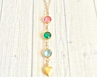 Birthstone Necklace - Birthstone Jewelry - Mother's Necklace - Mother's Day Gift - Mother's Day Jewelry - Grandma Gift - Lariat Necklace