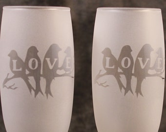Love Birds Wedding Anniversary Frosted Etched Champagne Glasses Set Of 2