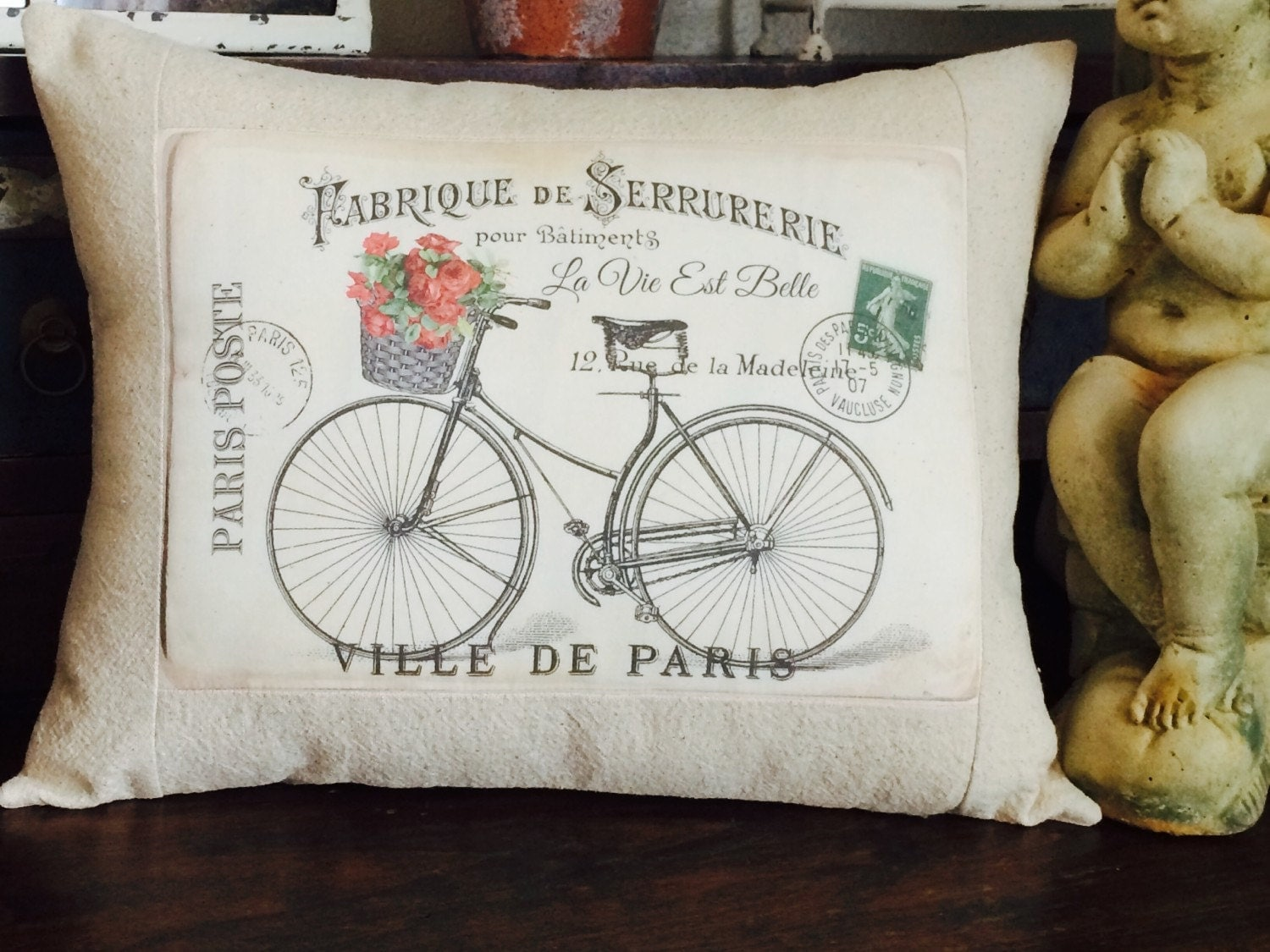 Throw Pillow In French : French Post Card Vintage Bicycle Throw Pillow