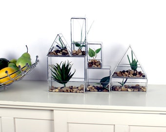 Stained Glass Stacking Planters - Large Triangle -Terrarium - Simple, Geometric, Modern
