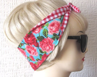 Shabby Chic Tea Roses and Gingham Fabric Hair Tie Head Scarf by Dolly Cool Turquoise