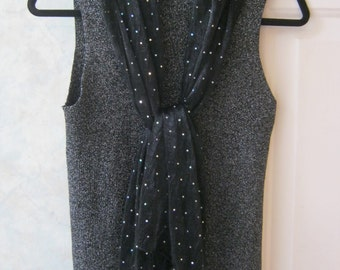 Vintage black ribbed sleeveless turtleneck, silvery lurex black ribbed turtleneck top, sz Small black silver silk blend turtleneck top
