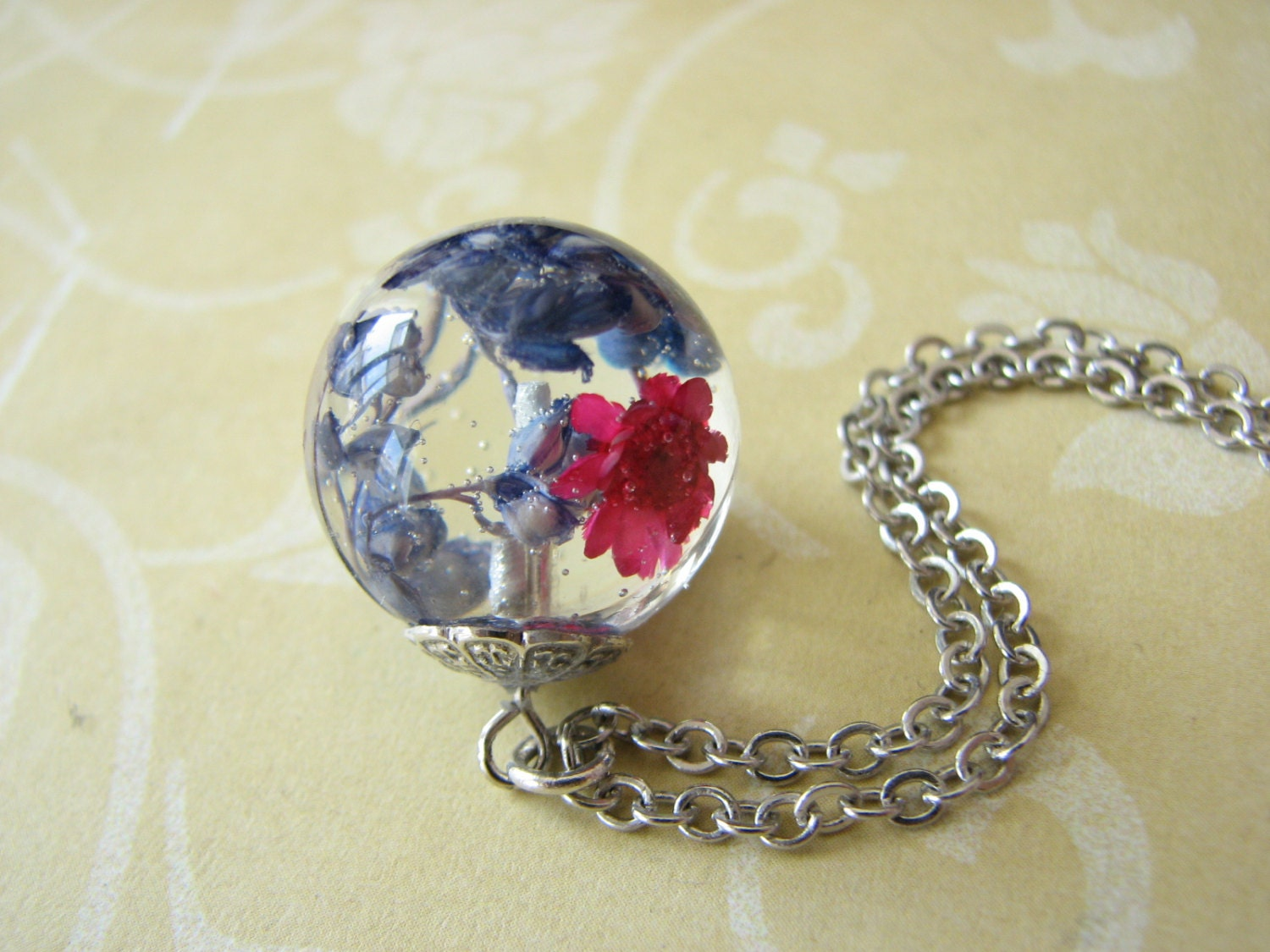 Real Flower Jewelry Real Flower Necklace Resin Jewelry Globe