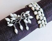 Vintage Mid-Century Modernist Brooch & Bracelet Set - Silvertone Metal w/ White Stones - Abstract Leaf Design - 1950s to 1960s - Demi-Parure