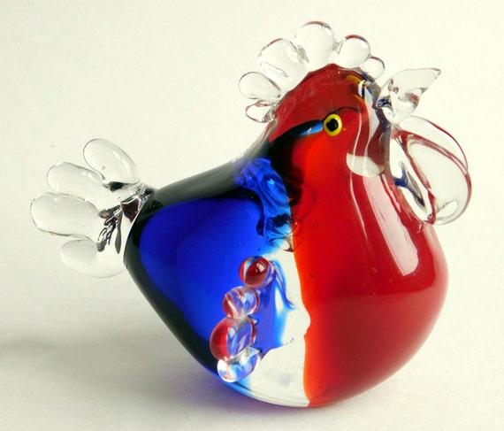 Vintage Large Murano Style Hand Blown Art Glass Hen