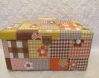 Vintage Vinyl Sewing Box Patchwork 1970's SALE