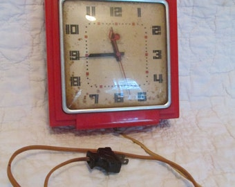 Vintage Telechron Clock Red Model 2H25 needs TLC SALE