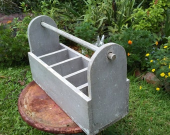 Vintage Shabby Gray Large Wooden Tool Box with Handle