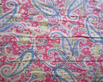 Vintage 1940s Cotton Reversible Cranberry and Blue Paisley Print Tied Comforter as found