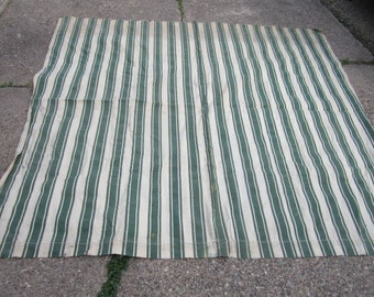 Vintage 1940s/50s Heavy Used 85x78 Cotton Canvas Green Striped Fabric with Grommets