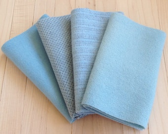 """Hand Dyed Wool Felt, SKY BLUE, Four 6.5"""" x 16"""" pieces in Soft Pastel Blue, Perfect for Rug Hooking, Applique' and Crafting"""