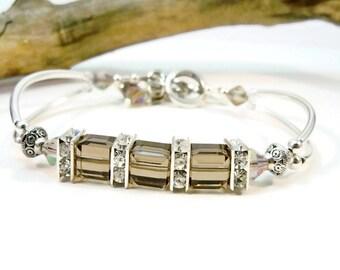 Cuff Bracelet, Curve Tube Bracelet, Silver Bracelet, Crystal Bracelet, Double Bracelet, Minimalist Jewelry, Silver Jewelry, Gifts for Her