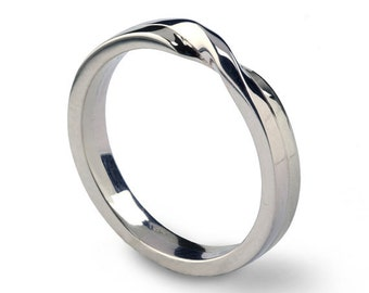 LOVE Knot 18k White Gold Wedding Band, Unique Mens Wedding Band, Womens Wedding Band, His and Hers Wedding Ring Gold