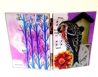 Spring Sparrow and Trees Art, Decoupage Diptych, Pink Blue, Wildlife Home Decor, Woodland Animal, Decorative Shelf Setter, Paper Collage
