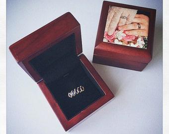 Personalized Ring Box Wedding, Ring Box Engagement, Ring Box Velvet, Ring Box Wood, Ring Box for Wedding, Rose Wood Gift Box 2x2 Jewelry Box