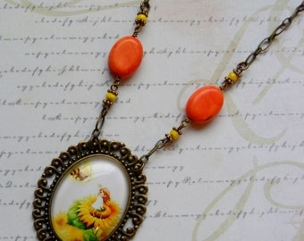 Elf and Bumblebee on a Sunflower-brass necklace with ephemera, 25 3/4 inches or 65.5 cm